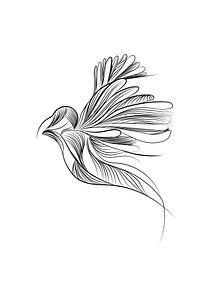 Poster vogel - dierenprint kinderkamer - zwart wit van Studio Tosca