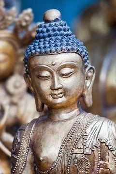 Gold bemaltes Holz Bodhisattva Skulptur von Tony Vingerhoets
