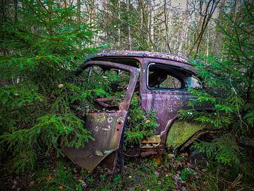 Verroeste, verlaten auto in het bos
