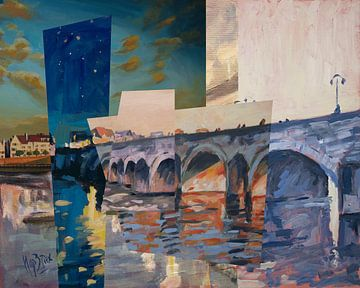 Collage Sint Servaasbrug (noordzijde) te Maastricht van Nop Briex