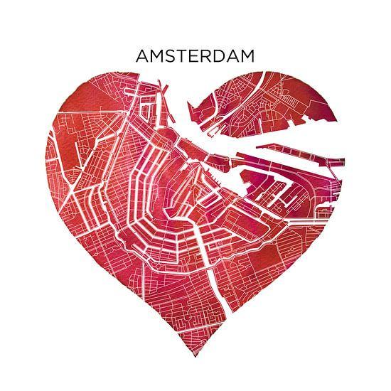 Amsterdam | Stadskaarten als Wandcirkel