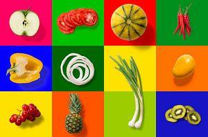 Collage van groente en fruit