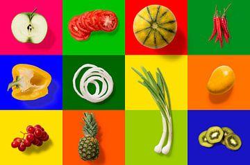 Collage van groente en fruit van Rietje Bulthuis