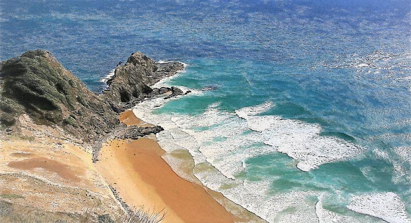 Strand - Nieuw Zeeland - Cape Reinga - Ninety Mile Beach - 90 Mile Beach van Schildersatelier van der Ven