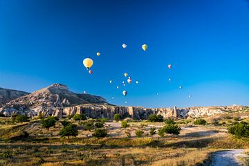 Panorama van luchtballonnen in Cappadocia, Turkije van John Ozguc