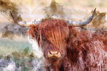 Roter schottischer Highlander in digitaler art von gea strucks