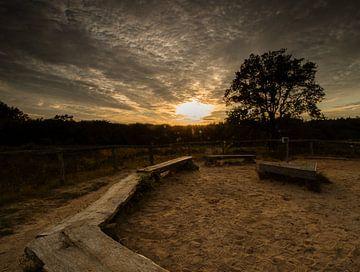 Holtingerveld bei Sonnenuntergang von Jan Willem Oldenbeuving