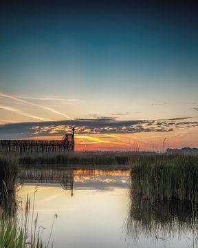 Sunrise oude haven Schokland van Hille Monster