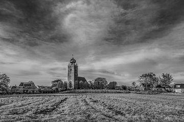 Ansicht des friesischen Dorfes Deinum in schwarz/weiß von Harrie Muis