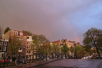 Regenboog boven Prinsengracht van Marianna Pobedimova