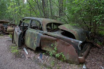 Autofriedhof im Wald in Ryd, Schweden von Joost Adriaanse