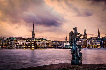 Hamburg's Binnen Alster met skyline van Annette Hanl