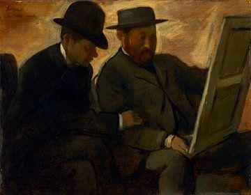 Paul Lafond und Alphonse Cherfils bei der Untersuchung eines Gemäldes, Edgar Degas