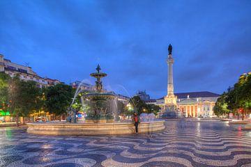 Rossio, Platz, Sprinbrunnen, Lissabon, Portugal