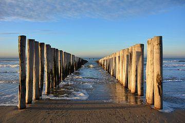 Golfbrekers aan het strand van Domburg, Walcheren Zeeland van My Footprints