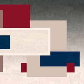 Abstract collage in Rood Blauw en Beige van Marianne van der Zee