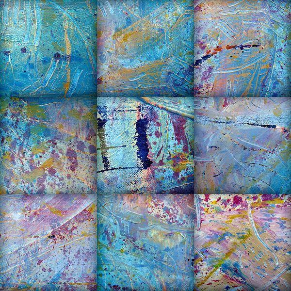 Abstracte structuren in blauw tinten van Eva van den Hamsvoort