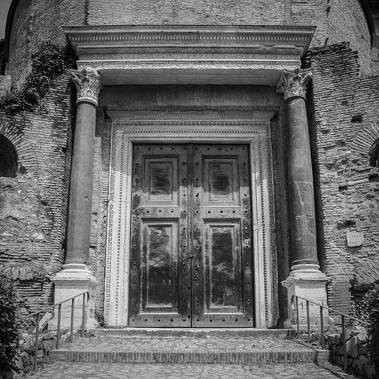 Italië in vierkant zwart wit, Rome, Forum Romanum