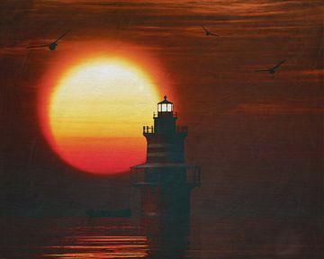 De Vuurtoren van Newport met een zonsondergang en wervelende Stratus wolken
