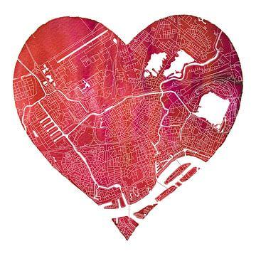 Rotterdam Nord | Stadtplan in einem Herzen von Wereldkaarten.Shop