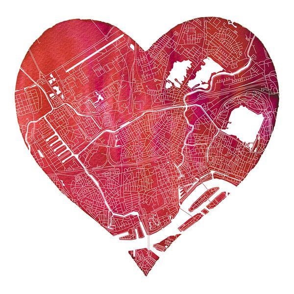 Rotterdam Noord | Stadskaart in een hart van Wereldkaarten.Shop
