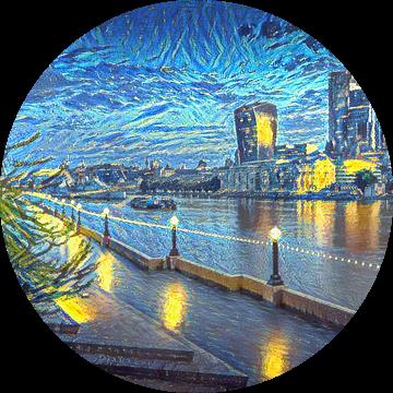 Schilderij Londen Skyline in stijl Van Gogh Sterrennacht van Slimme Kunst.nl