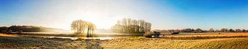 Landschap in Emsland bij zonsopgang van Günter Albers