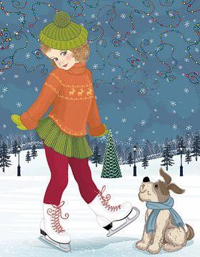 Süßes Mädchen auf Schlittschuhen mit Hund von Atelier Liesjes