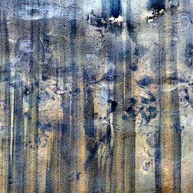 Abstract blauw oranje van Annemie Hiele