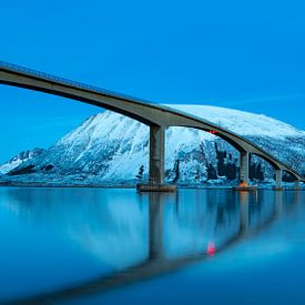 Pont de Gimsøystraumen dans le fjord Sydalspollen après le coucher du soleil dans les Lofoten en hiv sur Sjoerd van der Wal