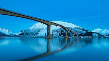 Gimsøystraumen-Brücke im Sydalspollenfjord nach Sonnenuntergang auf den Lofoten im Winter von Sjoerd van der Wal