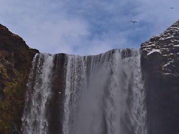 Vallende Skógafoss in IJsland van Timon Schneider