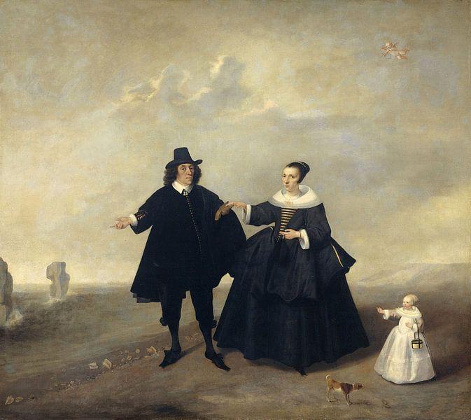 Portret van een echtpaar met kind, leden van de familie van Beresteyn van Meesterlijcke Meesters
