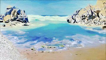 Uitzicht vanaf Stand Capo Test Sardinië - Schilderij