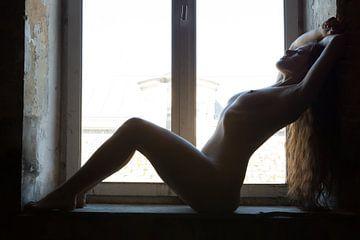 Künstlerische Akt Frau in Pose sitzt am Fenster von Arjan Groot