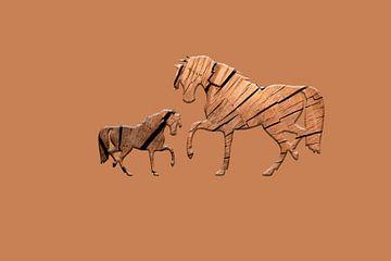 Houten paarden van Catherine Fortin