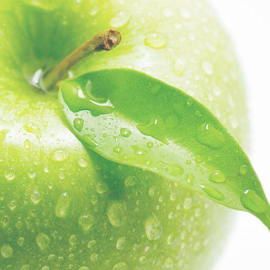 Apple macrofotografie om een hapje te nemen
