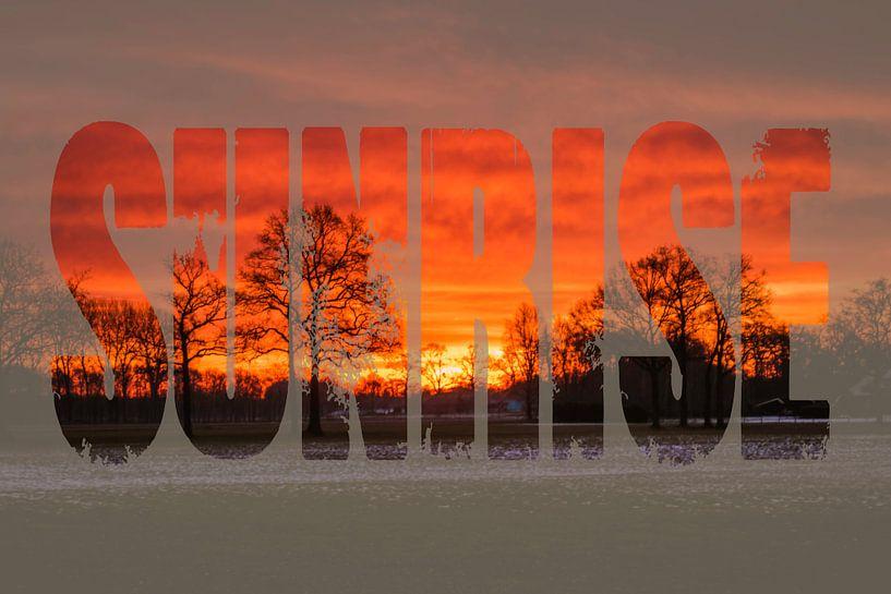 Zonsopgang met tekst sunrise  van Koop je Canvas