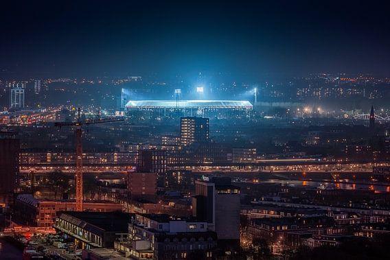 Feyenoord Stadion 'de Kuip' at Night van Niels Dam