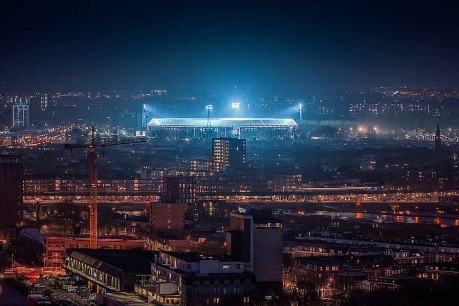 Feyenoord stadion de kuip at night van niels dam op for Canvas feyenoord de kuip