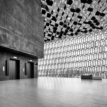 Innenbereich der Harpa Concert Hall, Reykjavik. von David Bleeker