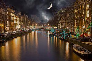 AMSTERDAM, NETHERLANDS - JANUARY 4 2016: Amsterdam light festiva van