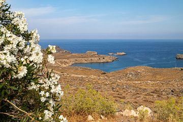 Panoramisch uitzicht op een zeebaai bij de stad Lindos op Rhodos van Reiner Conrad