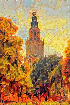 Peinture d'automne Martinitoren Groningen sur Slimme Kunst.nl