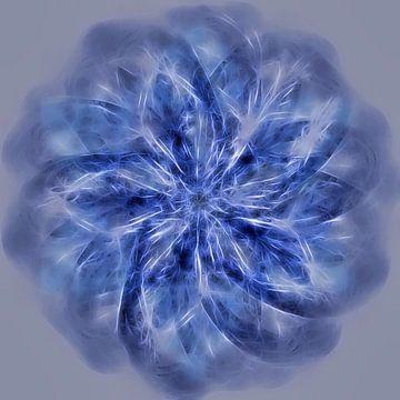 Mandala, spirograaf met blauwtinten van Rietje Bulthuis