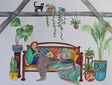 Roodharig meisje met haar katten van Iris Kelly Kuntkes