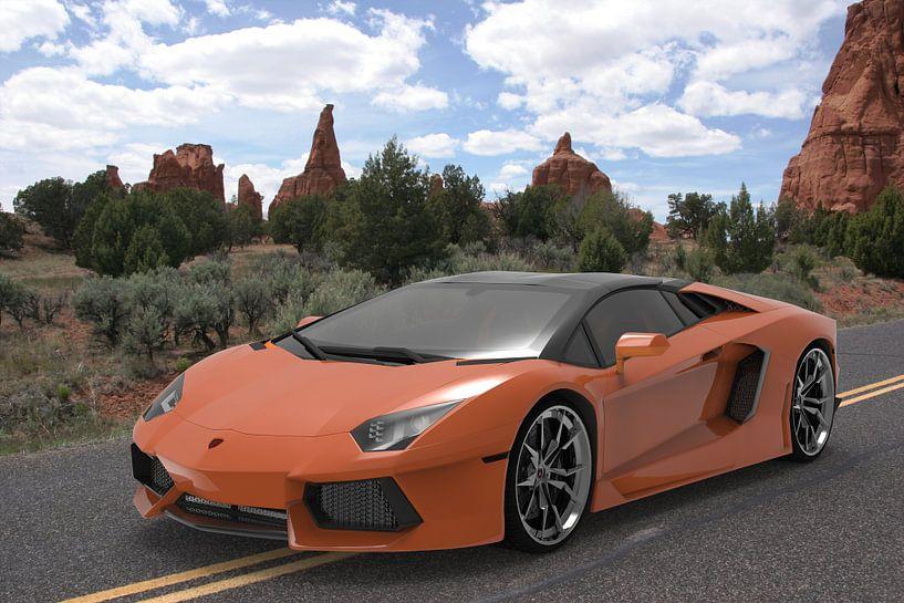 sport car orange front right van H.m. Soetens