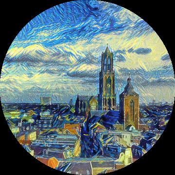 Schilderij Skyline Utrecht met Domkerk in de stijl van Van Gogh van Slimme Kunst.nl