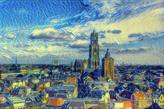 Schilderij Skyline Utrecht met Domkerk in de stijl van Van Gogh