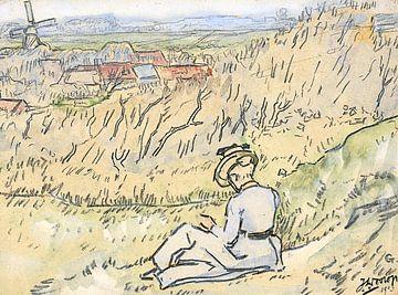 Frau auf dem Hooge-Hügel in Domburg, Jan Toorop, 1903